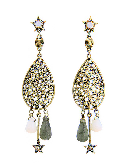 Fashion Antique Gold Hollow Out Design Pure Color Earrings