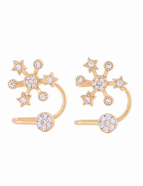 Fashion Gold Color Stat Shape Decorated Earrings