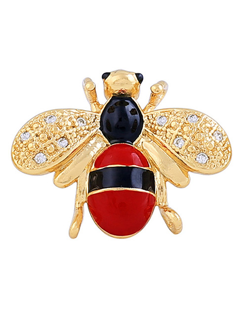 Fashion Red+gold Color Bee Shape Decorated Brooch