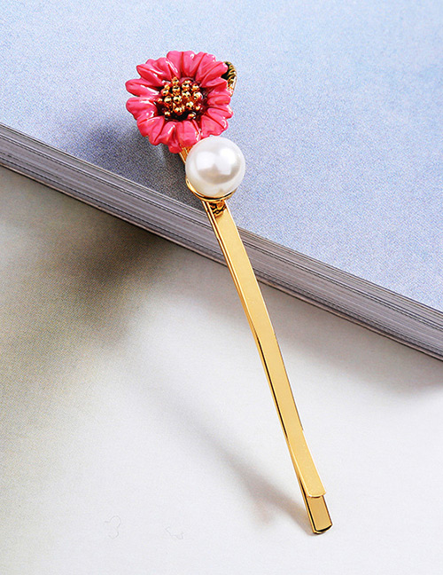 Fashion Plum Red Flower Shape Decorated Brooch