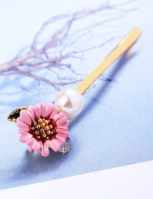 Fashion Pink Flower Shape Decorated Brooch