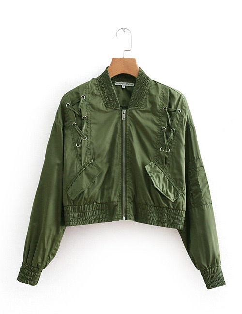 Fashion Green Pure Color Design Long Sleeves Jacket
