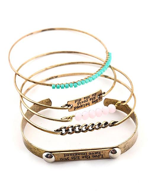 Fashion Antique Gold Beads Decorated Multi-layer Bracelet(5pcs)