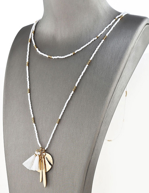 Fashion Gold Color Tassel Pendant Decorated Long Bead Necklace