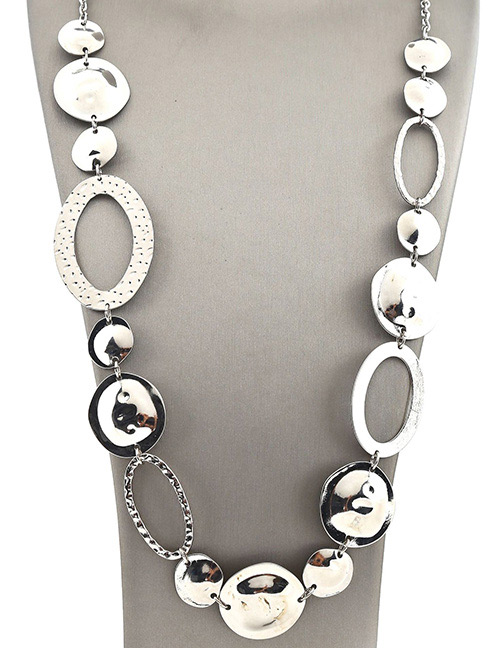 Fashion Silver Color Oval Shape Decorated Pure Color Necklace
