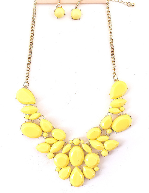 Fashion Yellow Gemstone Decorated Pure Color Jewelry Sets