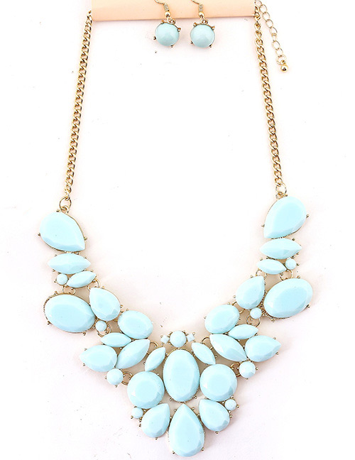 Fashion Blue Gemstone Decorated Pure Color Jewelry Sets