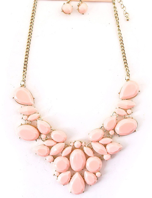 Fashion Pink Gemstone Decorated Pure Color Jewelry Sets
