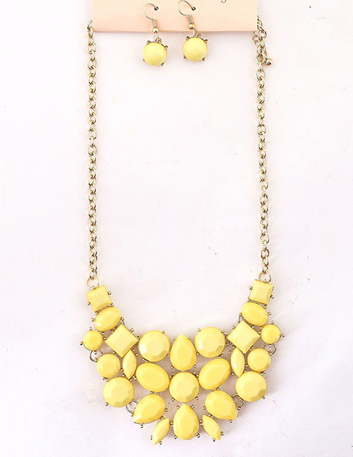 Fashion Yellow Round Shape Gemstone Design Jewelry Sets