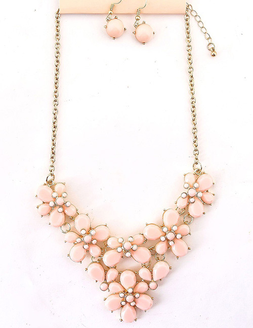 Fashion Pink Flowers Shape Design Pure Color Jewelry Sets