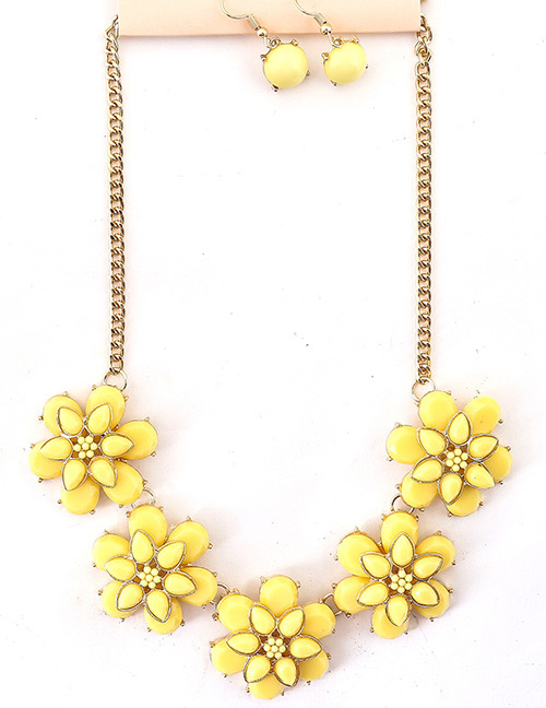 Fashion Yellow Pure Color Design Flower Shape Jewelry Sets