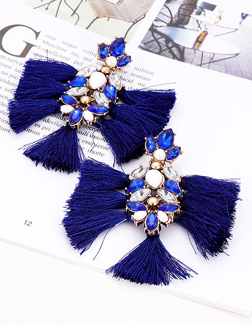 Elegant Navy Diamond Decorated Tassel Earrings