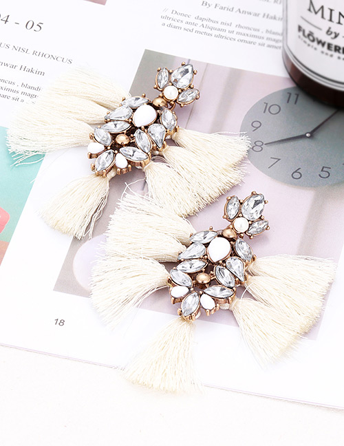 Elegant White Diamond Decorated Tassel Earrings