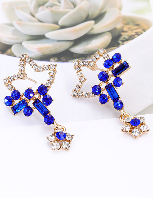Elegant Sapphire Blue Star Shape Design Hollow Out Earrings