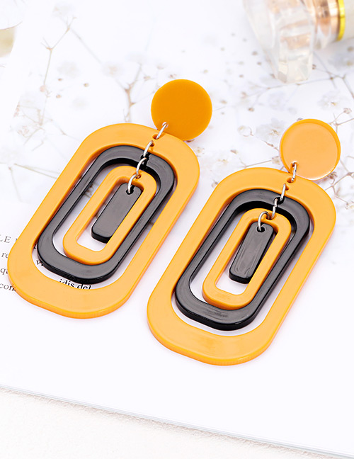 Elegant Yellow Hollow Out Design Multi-layer Earrings
