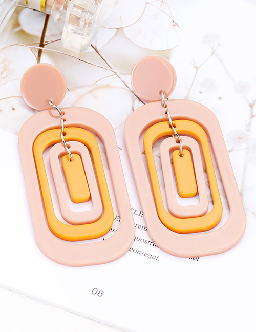 Elegant Pink Hollow Out Design Multi-layer Earrings
