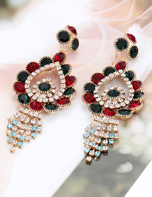 Elegant Blue+red Water Drop Shape Diamond Design Earrings