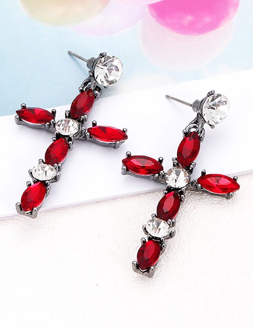 Elegant Red Cross Shape Design Long Earrings
