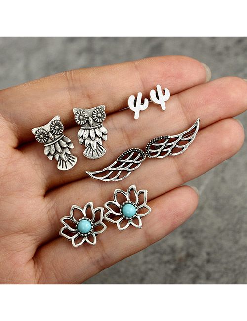 Fashion Antique Silver Owls&wings Decorated Simple Earrings(4 Pairs)