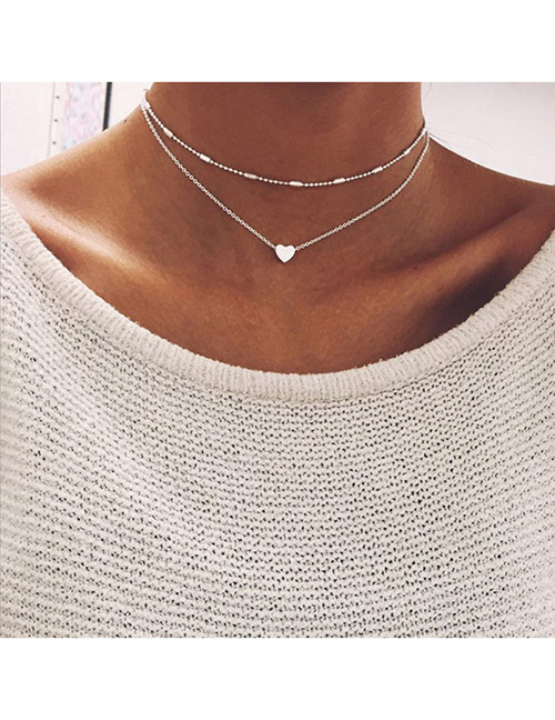 Fashion Silver Color Heart Shape Decorated Double Layer Necklace