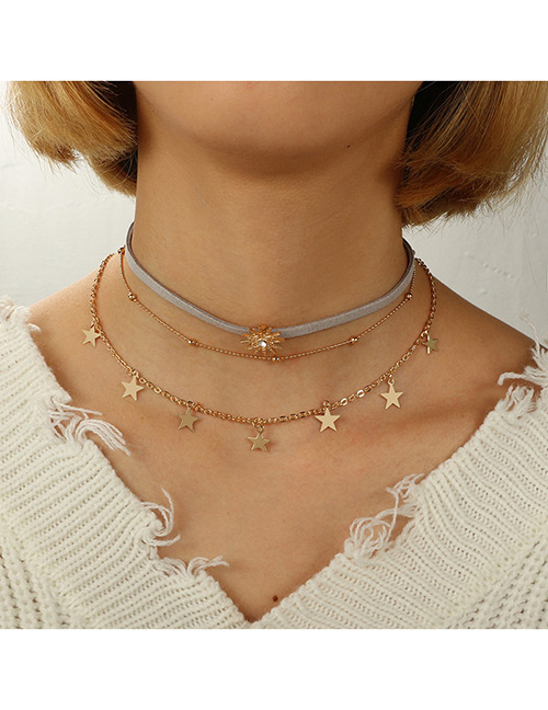 Fashion Gold Color Star Shape Decorated Multi- Layer Necklace
