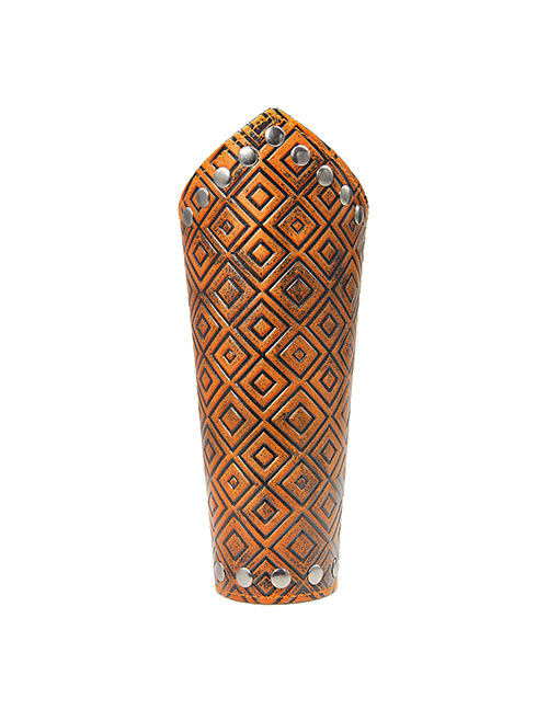 Fashion Brown Grid Pattern Decorated Punk Wrist Guard