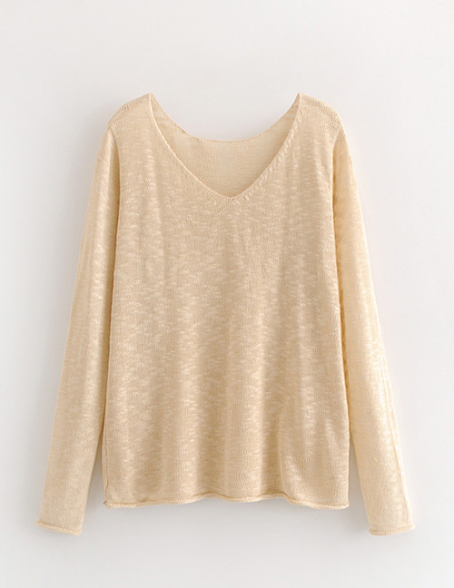Fashion Beige Pure Color Decorated V Neckline Blouse