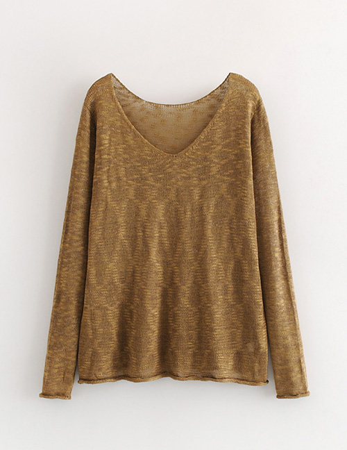 Fashion Brown Pure Color Decorated V Neckline Blouse