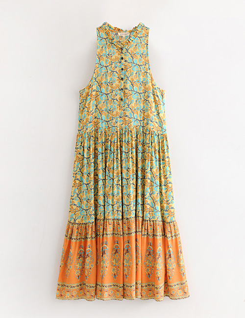 Fashion Orange Flower Pattern Decorated Dress