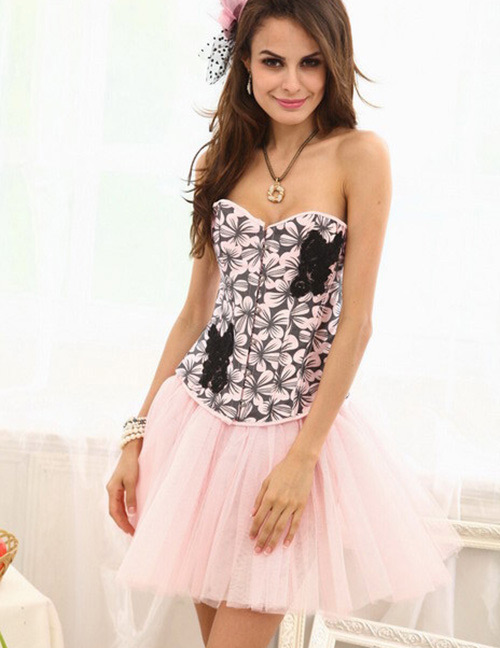 Fashion Pink Flower Pattern Decorated Corset