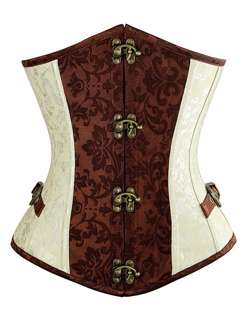 Fashion Brown+beige Flower Pattern Decorated Corset