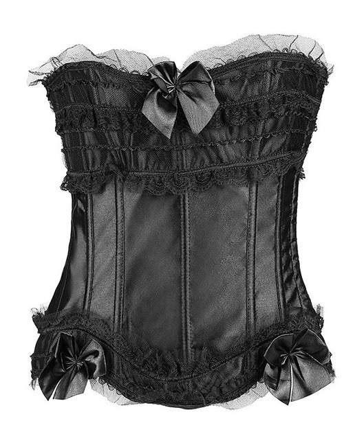 Fashion Black Pure Color Decorated Corset