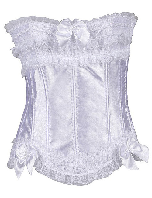 Fashion White Pure Color Decorated Corset