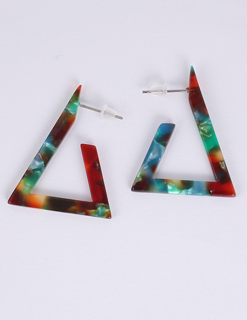 Fashion Multi-color Triangle Shape Design Earrings