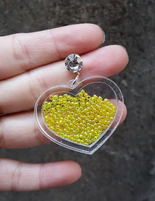 Fashion Yellow Beads Decorated Heart Shape Earrings