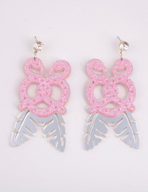 Fashion Pink Flamingo Shape Design Pure Color Earrings