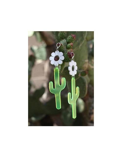 Fashion Green Cactus Shape Design Pure Color Earrings