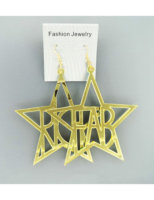 Fashion Gold Color Letter Shape Design Hollow Out Earrings