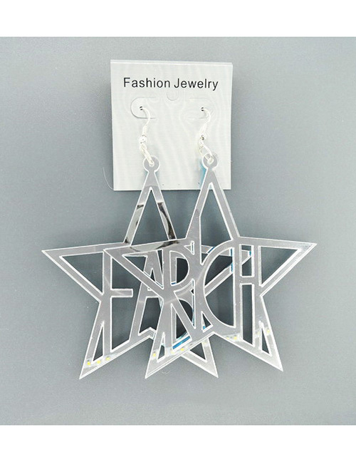 Fashion Silver Color Letter Shape Design Hollow Out Earrings