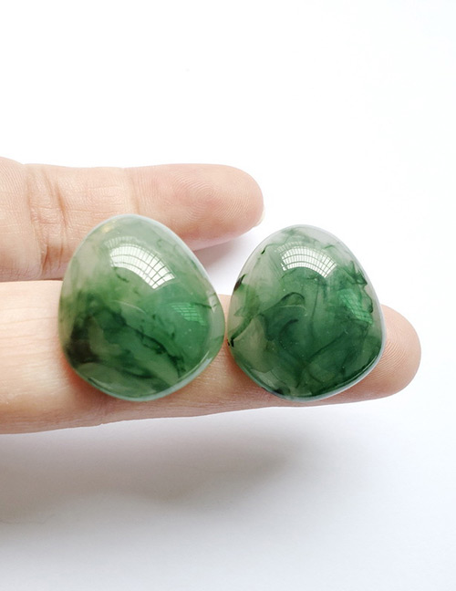 Fashion Green Marbling Pattern Decorated Earrings