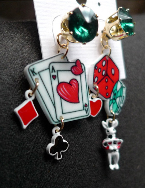 Fashion Red+white Poker Shape Design Long Earrings