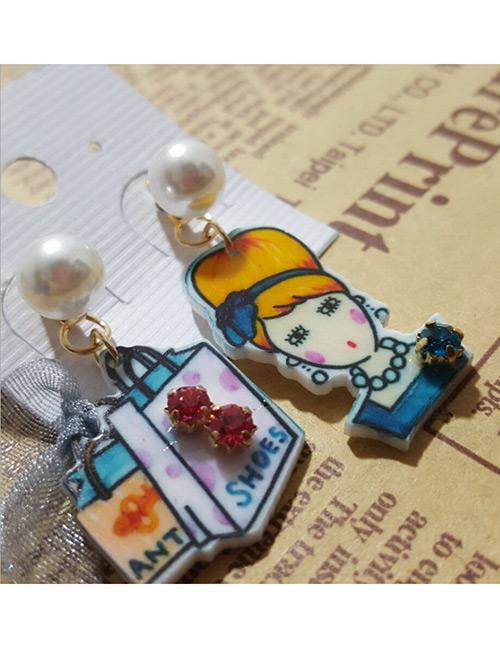 Fashion Orange+blue Girl Shape Design Asymmetric Earrings
