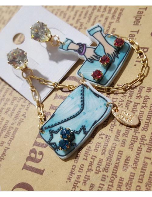 Fashion Blue Diamond&bags Decorated Earrings