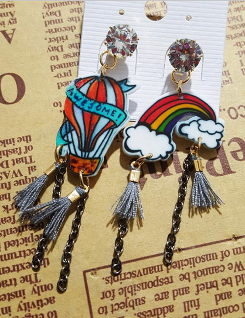 Fashion Multi-color Rainbow&parachute Decorated Earrings