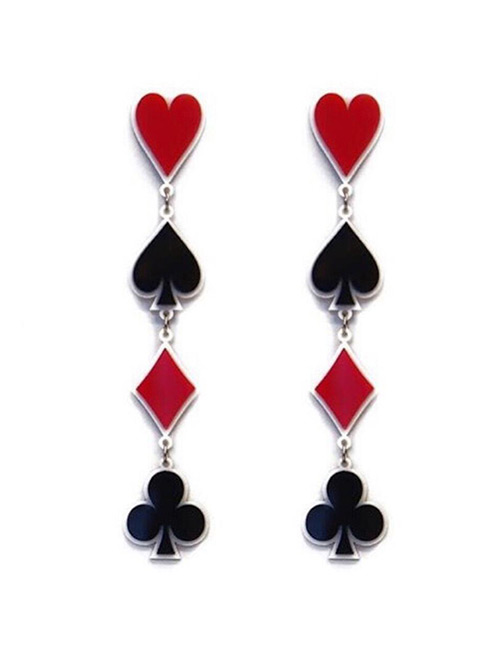 Fashion Red+black Pokers Shape Design Long Earrings