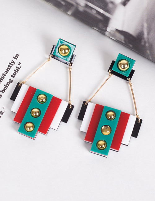 Fashion Green+red Square Shape Design Long Earrings