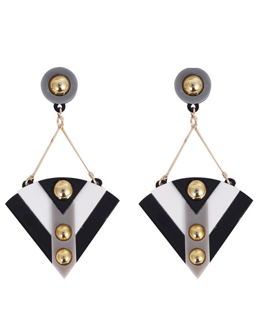 Fashion Black+white Sector Shape Design Long Earrings