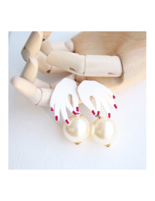 Fashion White Hands Shape Design Simple Earrings