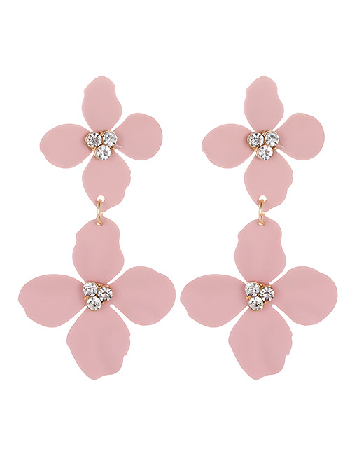 Fashion Light Pink Flower Shape Decorated Earrings