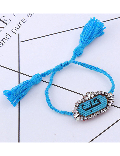 Fashion Blue Oval Shape Decorated Bracelet
